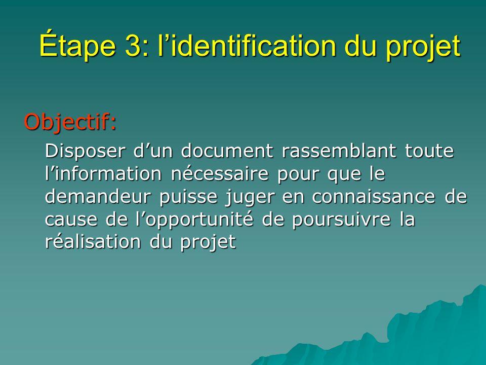 Étape 3: lidentification du projet Objectif: Objectif: Disposer dun document rassemblant toute linformation nécessaire pour que le demandeur puisse juger en connaissance de cause de lopportunité de poursuivre la réalisation du projet