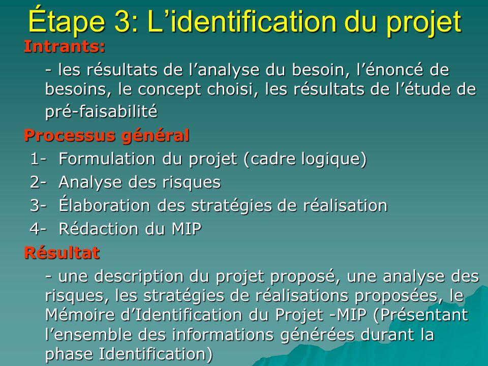 Étape 3: Lidentification du projet Intrants: Intrants: - les résultats de lanalyse du besoin, lénoncé de besoins, le concept choisi, les résultats de létude de pré-faisabilité - les résultats de lanalyse du besoin, lénoncé de besoins, le concept choisi, les résultats de létude de pré-faisabilité Processus général Processus général 1- Formulation du projet (cadre logique) 2- Analyse des risques 3- Élaboration des stratégies de réalisation 4- Rédaction du MIP Résultat Résultat - une description du projet proposé, une analyse des risques, les stratégies de réalisations proposées, le Mémoire dIdentification du Projet -MIP (Présentant lensemble des informations générées durant la phase Identification) - une description du projet proposé, une analyse des risques, les stratégies de réalisations proposées, le Mémoire dIdentification du Projet -MIP (Présentant lensemble des informations générées durant la phase Identification)