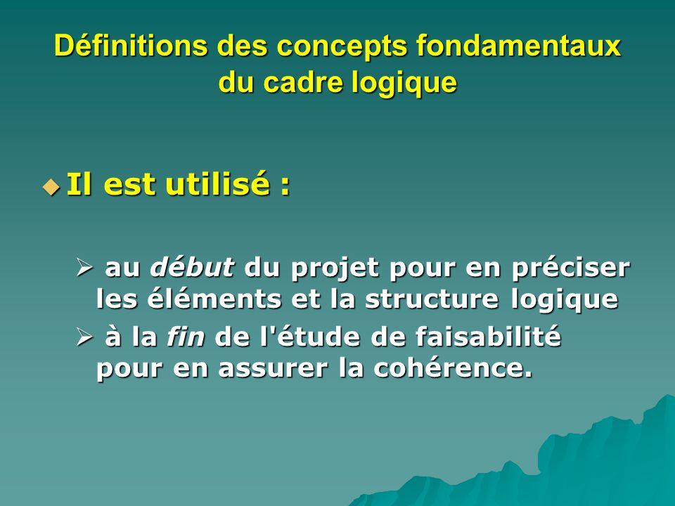 Définitions des concepts fondamentaux du cadre logique Il est utilisé : Il est utilisé : au début du projet pour en préciser les éléments et la structure logique au début du projet pour en préciser les éléments et la structure logique à la fin de l étude de faisabilité pour en assurer la cohérence.