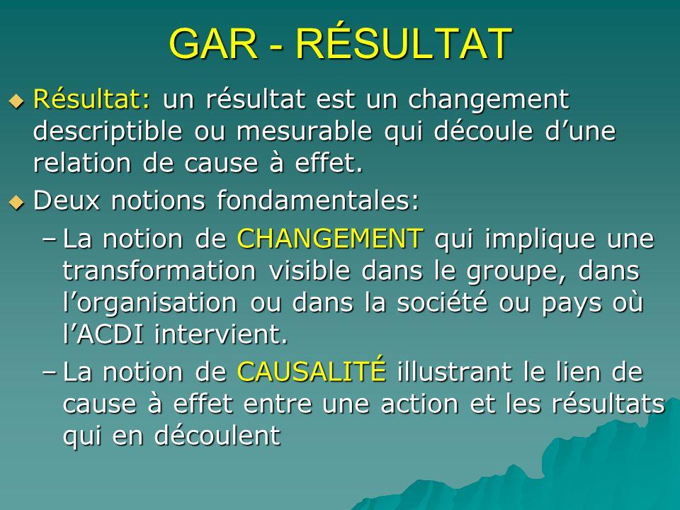 GAR - RÉSULTAT Résultat: un résultat est un changement descriptible ou mesurable qui découle dune relation de cause à effet. Résultat: un résultat est