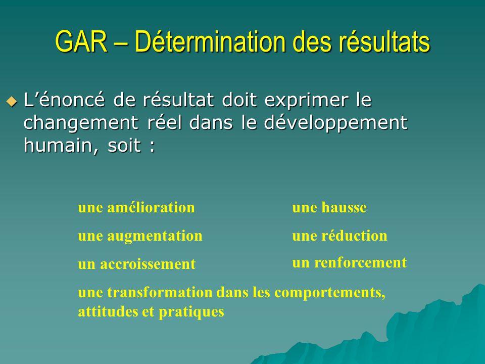 GAR – Détermination des résultats Lénoncé de résultat doit exprimer le changement réel dans le développement humain, soit : Lénoncé de résultat doit e