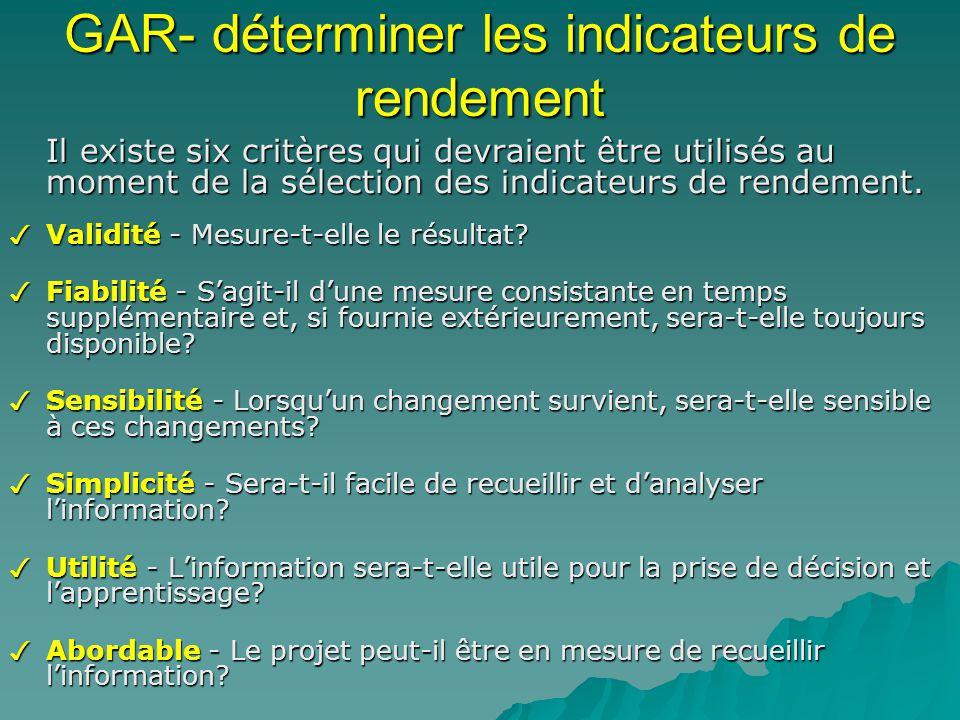 GAR- déterminer les indicateurs de rendement Il existe six critères qui devraient être utilisés au moment de la sélection des indicateurs de rendement.