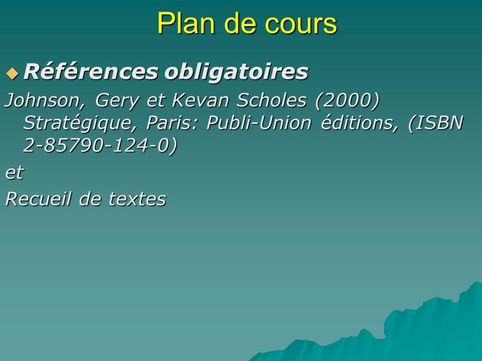 Plan de cours Références obligatoires Références obligatoires Johnson, Gery et Kevan Scholes (2000) Stratégique, Paris: Publi-Union éditions, (ISBN 2-85790-124-0) et Recueil de textes