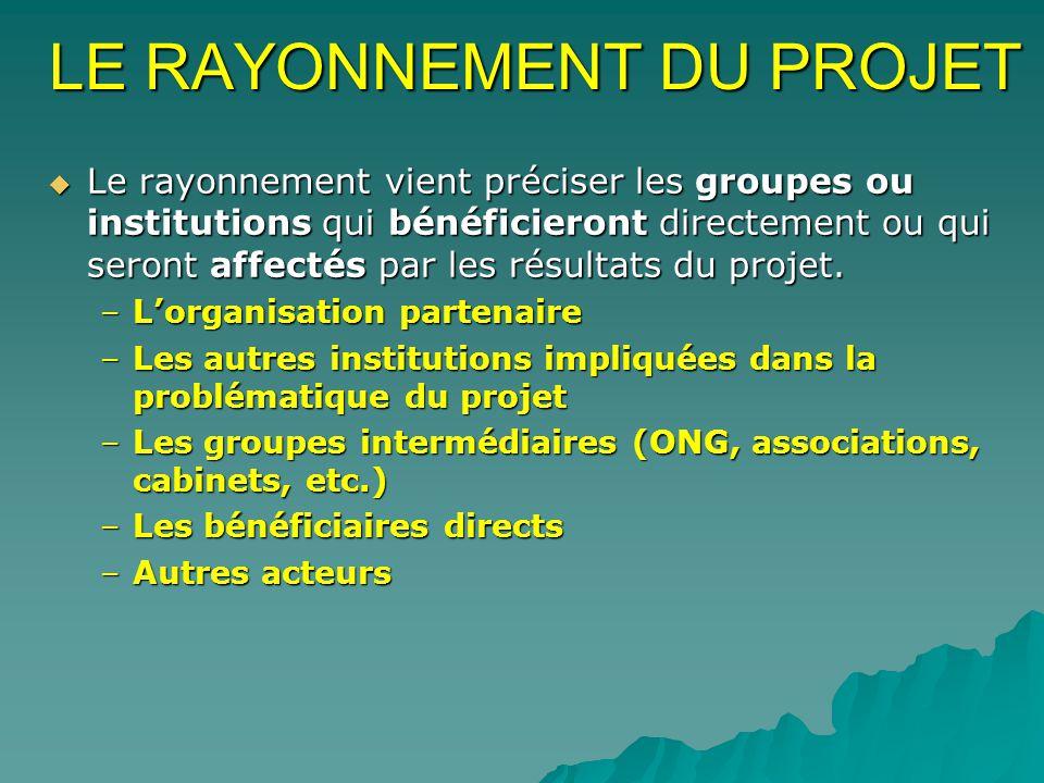 LE RAYONNEMENT DU PROJET Le rayonnement vient préciser les groupes ou institutions qui bénéficieront directement ou qui seront affectés par les résultats du projet.