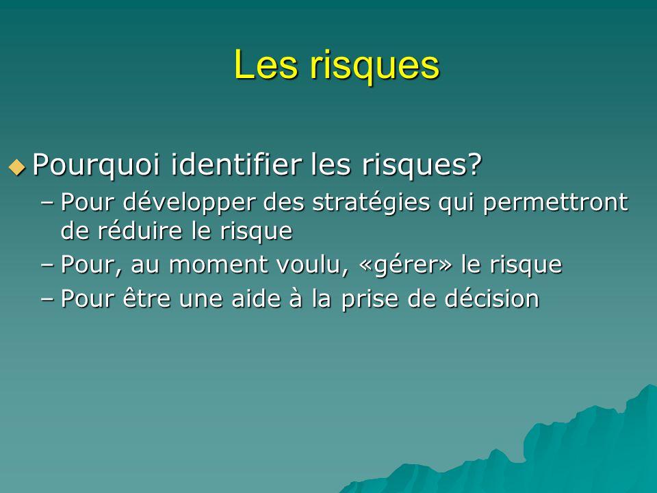 Les risques Pourquoi identifier les risques? Pourquoi identifier les risques? –Pour développer des stratégies qui permettront de réduire le risque –Po