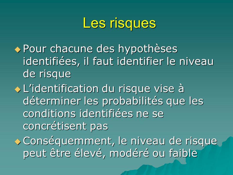 Les risques Pour chacune des hypothèses identifiées, il faut identifier le niveau de risque Pour chacune des hypothèses identifiées, il faut identifie