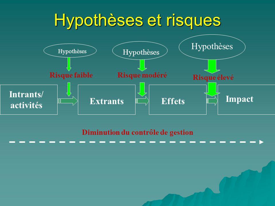 Intrants/ activités ExtrantsEffets Impact Hypothèses Diminution du contrôle de gestion Risque faibleRisque modéré Risque élevé Hypothèses et risques