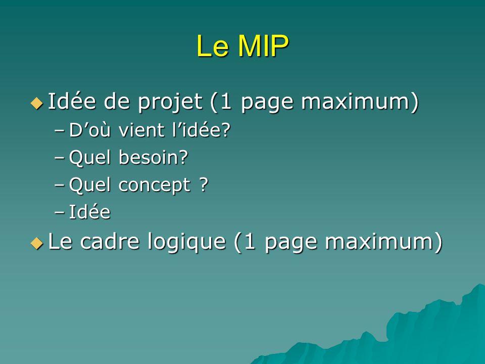 Le MIP Idée de projet (1 page maximum) Idée de projet (1 page maximum) –Doù vient lidée? –Quel besoin? –Quel concept ? –Idée Le cadre logique (1 page