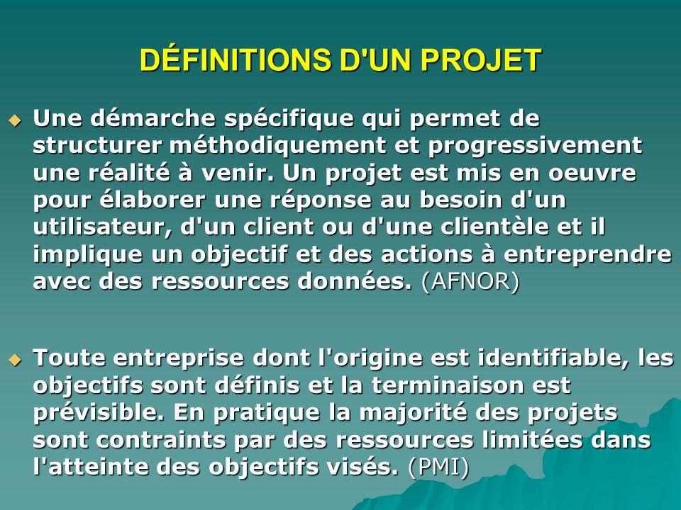 DÉFINITIONS D'UN PROJET Une démarche spécifique qui permet de structurer méthodiquement et progressivement une réalité à venir. Un projet est mis en o