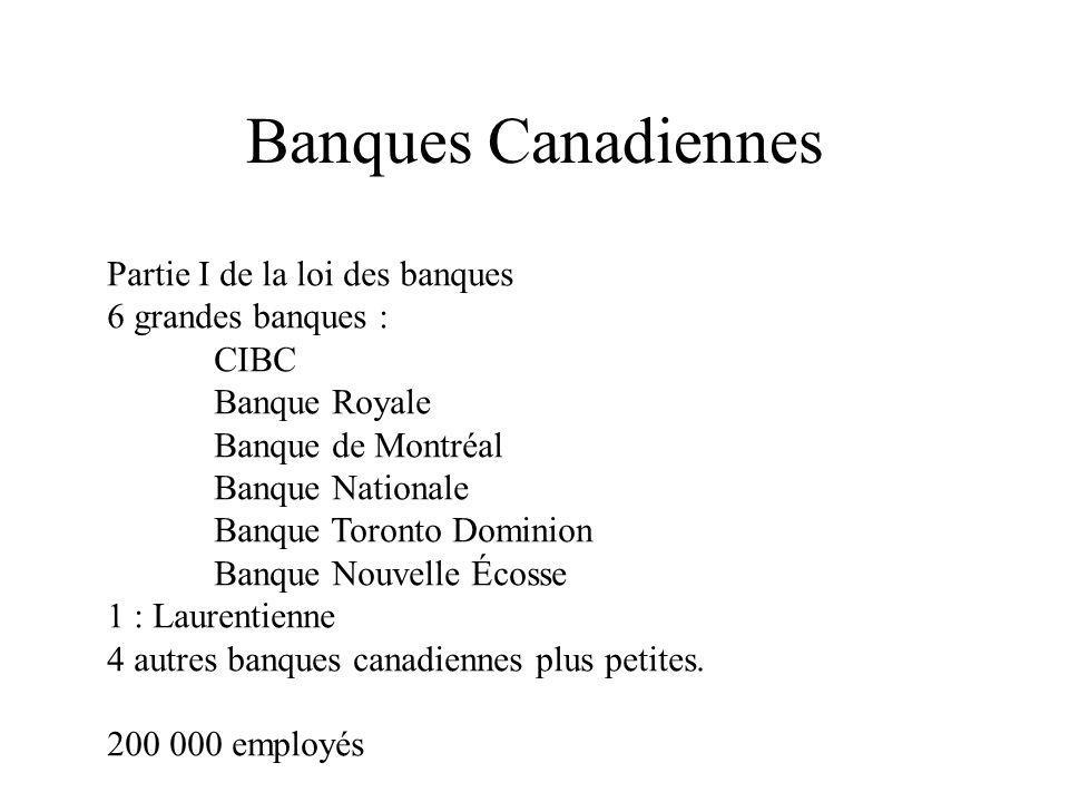 Banques Canadiennes Partie I de la loi des banques 6 grandes banques : CIBC Banque Royale Banque de Montréal Banque Nationale Banque Toronto Dominion Banque Nouvelle Écosse 1 : Laurentienne 4 autres banques canadiennes plus petites.
