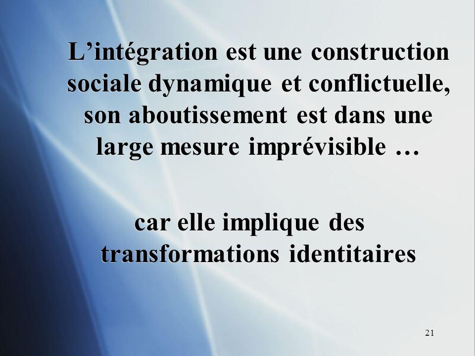 21 Lintégration est une construction sociale dynamique et conflictuelle, son aboutissement est dans une large mesure imprévisible … car elle implique