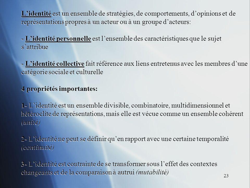 23 Lidentité est un ensemble de stratégies, de comportements, dopinions et de représentations propres à un acteur ou à un groupe dacteurs: - Lidentité