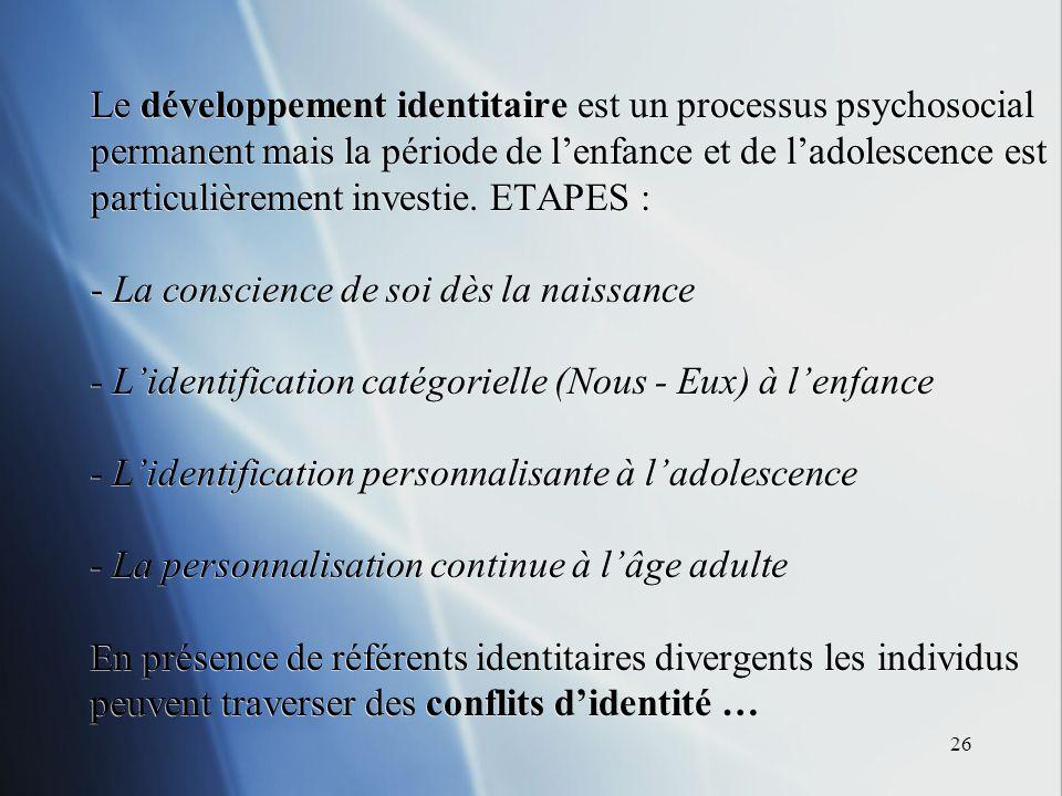 26 Le développement identitaire est un processus psychosocial permanent mais la période de lenfance et de ladolescence est particulièrement investie.