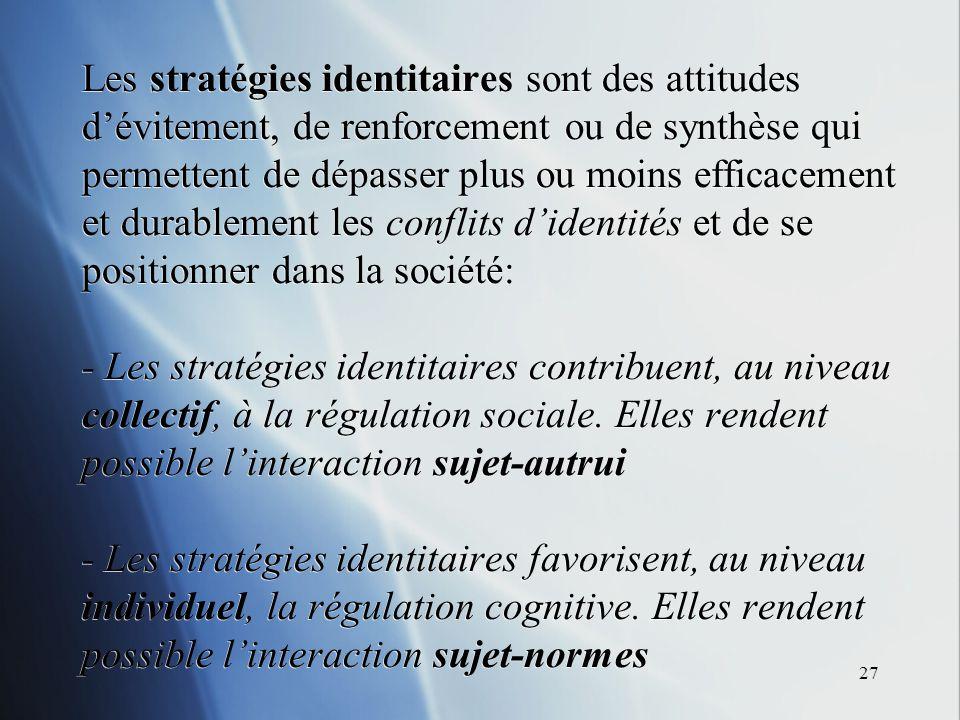 27 Les stratégies identitaires sont des attitudes dévitement, de renforcement ou de synthèse qui permettent de dépasser plus ou moins efficacement et