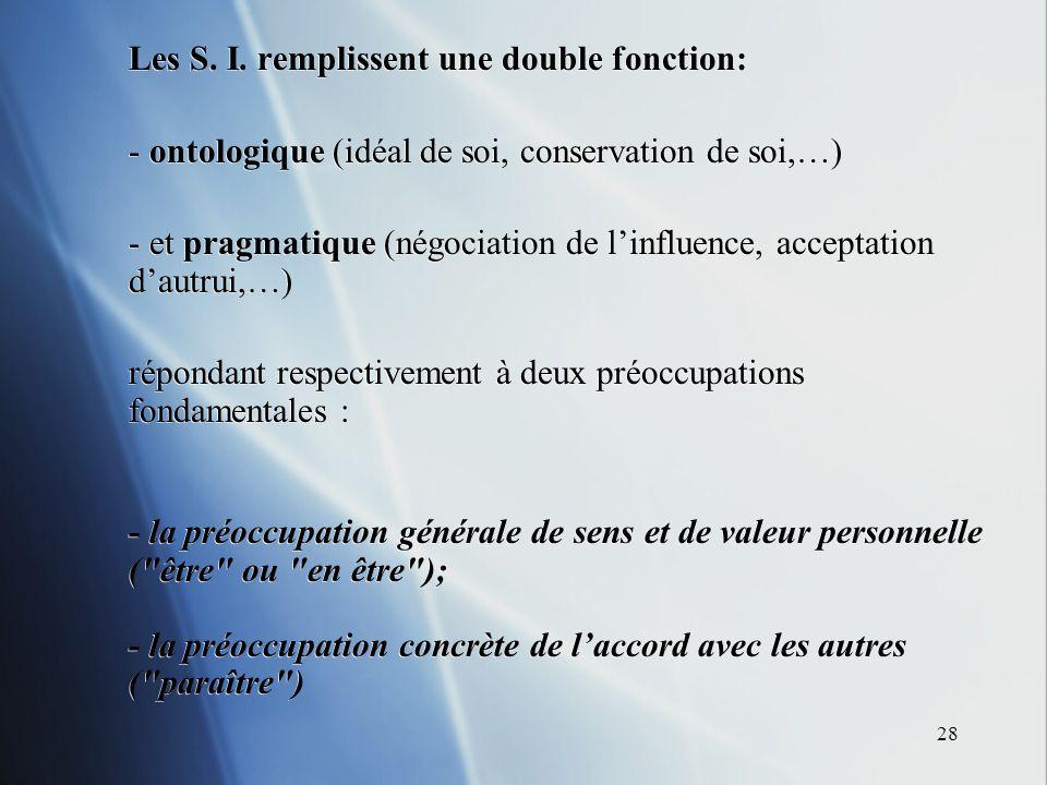 28 Les S. I. remplissent une double fonction: - ontologique (idéal de soi, conservation de soi,…) - et pragmatique (négociation de linfluence, accepta