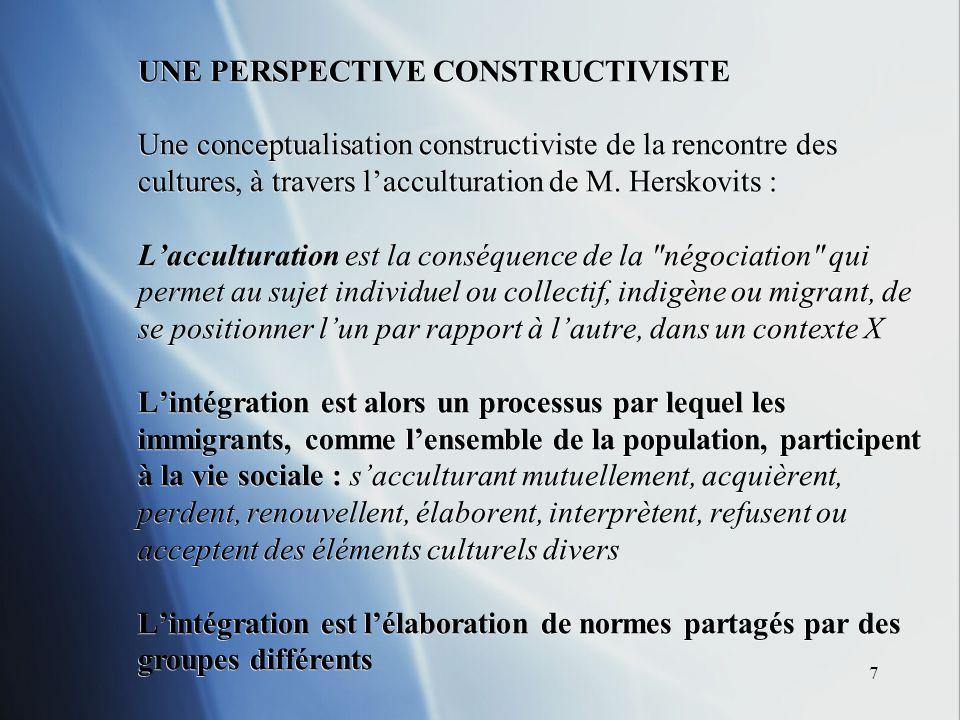7 UNE PERSPECTIVE CONSTRUCTIVISTE Une conceptualisation constructiviste de la rencontre des cultures, à travers lacculturation de M. Herskovits : Lacc