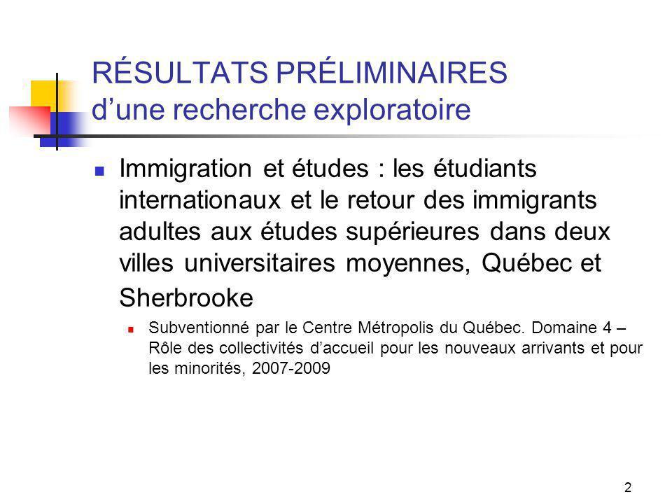 2 RÉSULTATS PRÉLIMINAIRES dune recherche exploratoire Immigration et études : les étudiants internationaux et le retour des immigrants adultes aux études supérieures dans deux villes universitaires moyennes, Québec et Sherbrooke Subventionné par le Centre Métropolis du Québec.