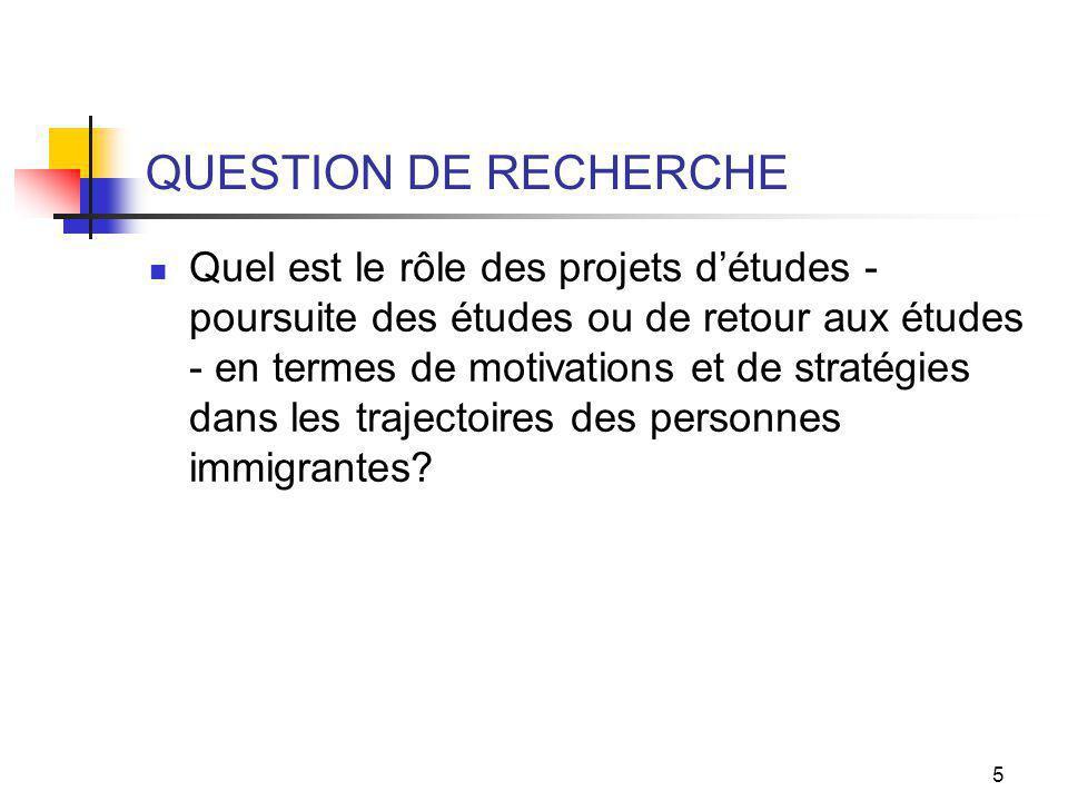 5 QUESTION DE RECHERCHE Quel est le rôle des projets détudes - poursuite des études ou de retour aux études - en termes de motivations et de stratégies dans les trajectoires des personnes immigrantes?
