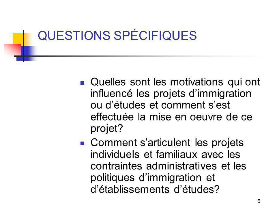 6 QUESTIONS SPÉCIFIQUES Quelles sont les motivations qui ont influencé les projets dimmigration ou détudes et comment sest effectuée la mise en oeuvre de ce projet.