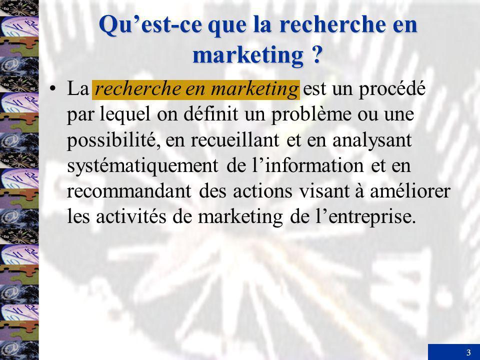 4 Les types de recherche en marketing La recherche exploratoire est une recherche menée en phase préliminaire, pour préciser la portée et la nature dun problème de marketing.
