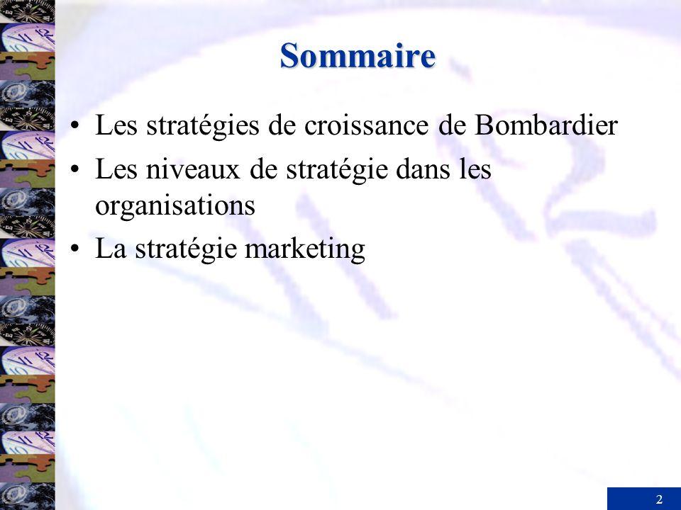 2 Sommaire Les stratégies de croissance de Bombardier Les niveaux de stratégie dans les organisations La stratégie marketing