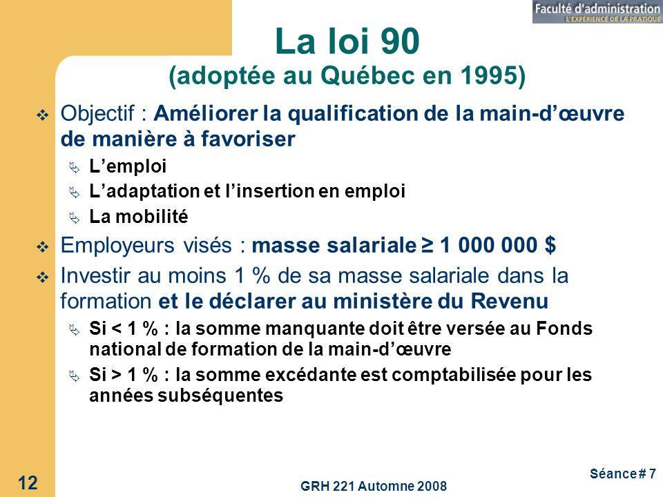 GRH 221 Automne 2008 12 Séance # 7 La loi 90 (adoptée au Québec en 1995) Objectif : Améliorer la qualification de la main-dœuvre de manière à favorise