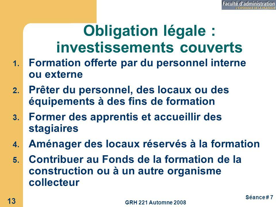 GRH 221 Automne 2008 13 Séance # 7 Obligation légale : investissements couverts 1. Formation offerte par du personnel interne ou externe 2. Prêter du