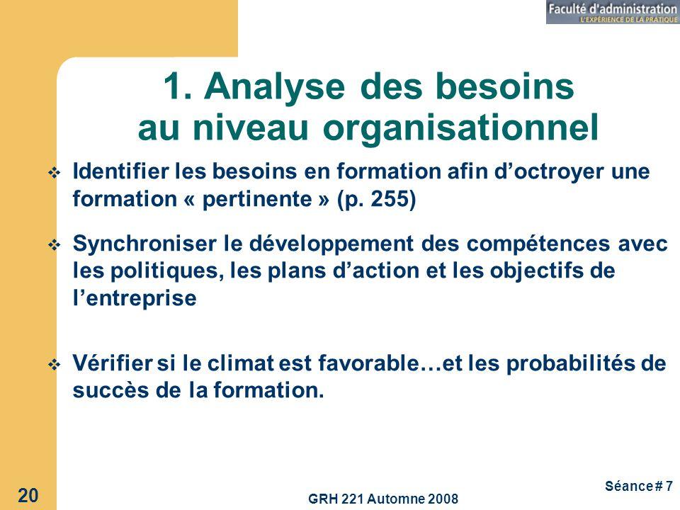 GRH 221 Automne 2008 20 Séance # 7 1. Analyse des besoins au niveau organisationnel Identifier les besoins en formation afin doctroyer une formation «