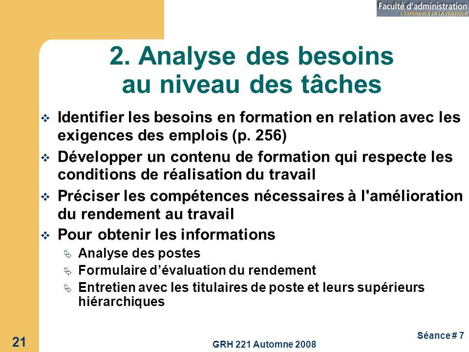 GRH 221 Automne 2008 21 Séance # 7 2. Analyse des besoins au niveau des tâches Identifier les besoins en formation en relation avec les exigences des