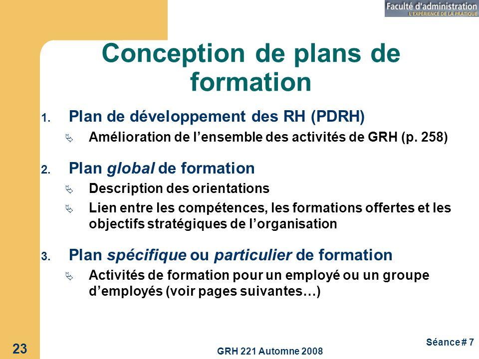 GRH 221 Automne 2008 23 Séance # 7 Conception de plans de formation 1. Plan de développement des RH (PDRH) Amélioration de lensemble des activités de