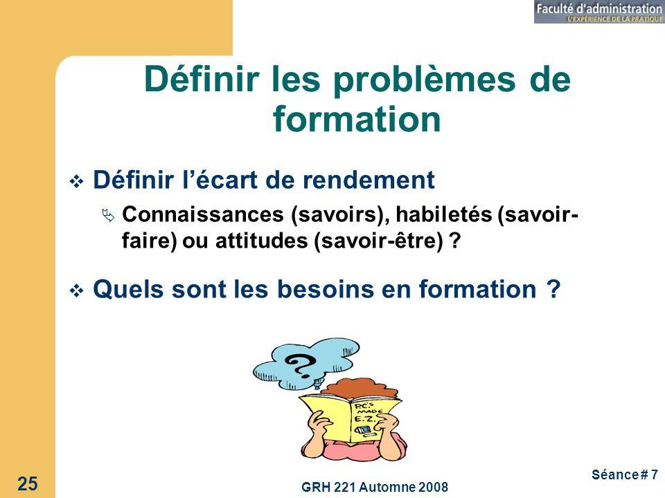 GRH 221 Automne 2008 25 Séance # 7 Définir les problèmes de formation Définir lécart de rendement Connaissances (savoirs), habiletés (savoir- faire) o