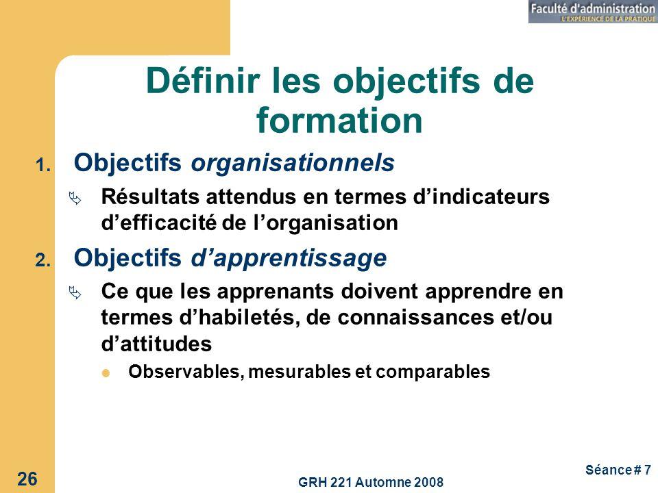 GRH 221 Automne 2008 26 Séance # 7 Définir les objectifs de formation 1. Objectifs organisationnels Résultats attendus en termes dindicateurs defficac