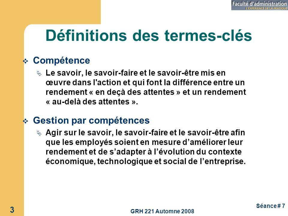 GRH 221 Automne 2008 34 Séance # 7