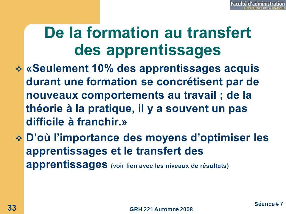 GRH 221 Automne 2008 33 Séance # 7 De la formation au transfert des apprentissages «Seulement 10% des apprentissages acquis durant une formation se co