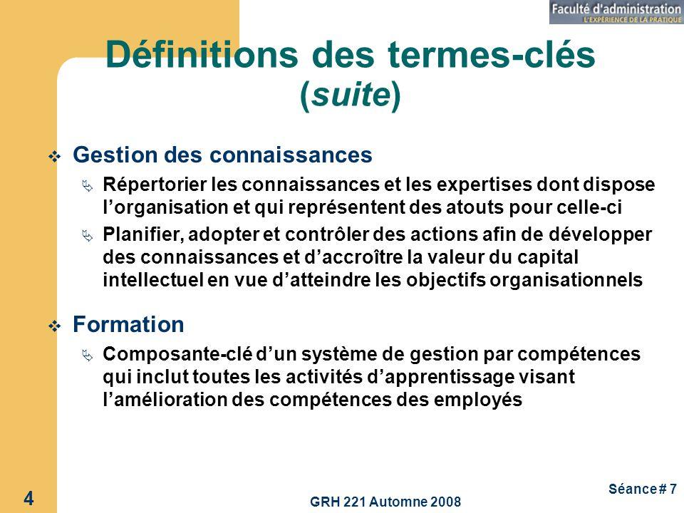 GRH 221 Automne 2008 4 Séance # 7 Définitions des termes-clés (suite) Gestion des connaissances Répertorier les connaissances et les expertises dont d