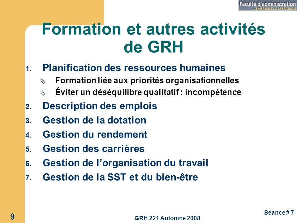GRH 221 Automne 2008 9 Séance # 7 Formation et autres activités de GRH 1. Planification des ressources humaines Formation liée aux priorités organisat