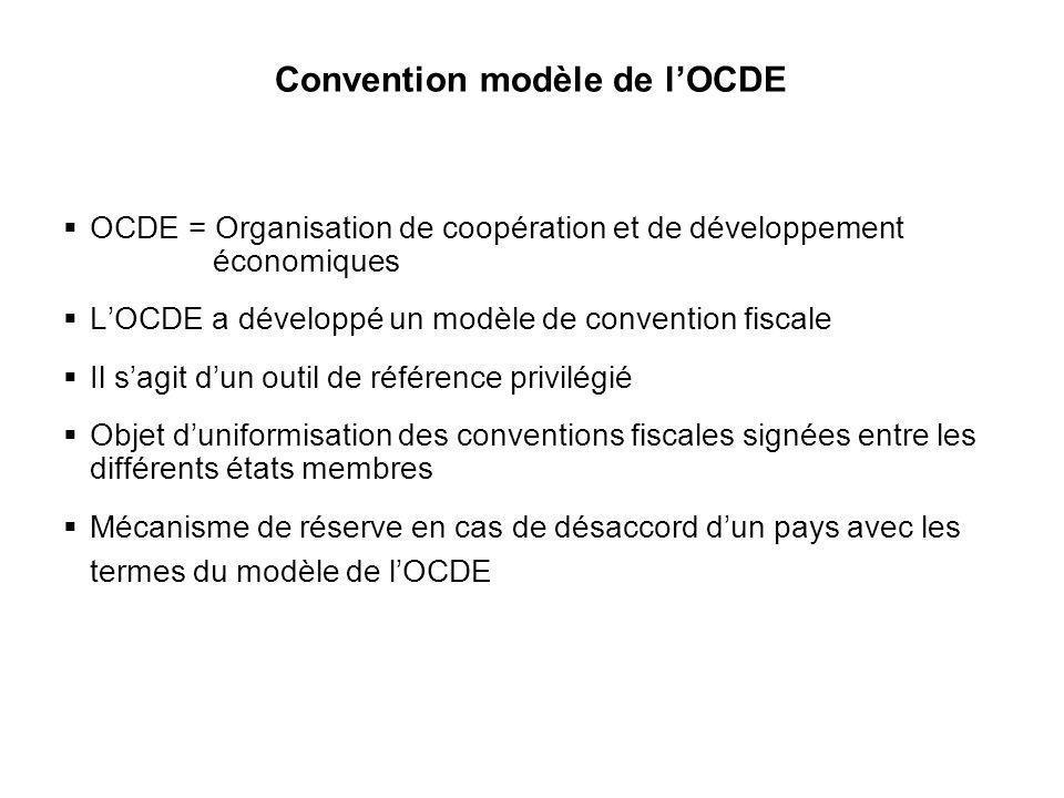 11 Convention modèle de lOCDE OCDE = Organisation de coopération et de développement économiques LOCDE a développé un modèle de convention fiscale Il