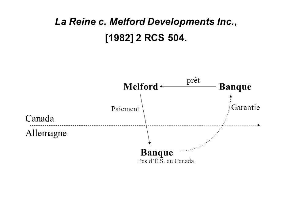 15 La Reine c. Melford Developments Inc., [1982] 2 RCS 504. Allemagne Canada BanqueMelford Paiement prêt Banque Garantie Pas dÉ.S. au Canada