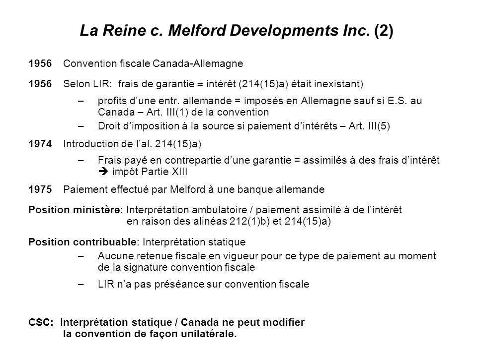 16 1956Convention fiscale Canada-Allemagne 1956Selon LIR: frais de garantie intérêt (214(15)a) était inexistant) –profits dune entr. allemande = impos