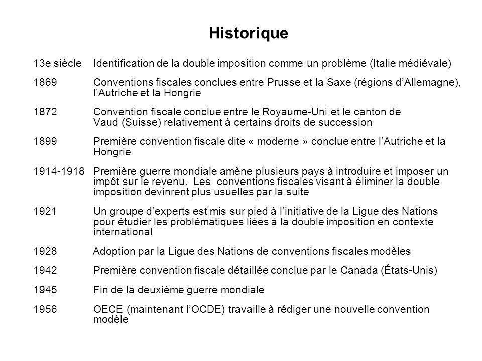 2 Historique 13e siècle Identification de la double imposition comme un problème (Italie médiévale) 1869 Conventions fiscales conclues entre Prusse et