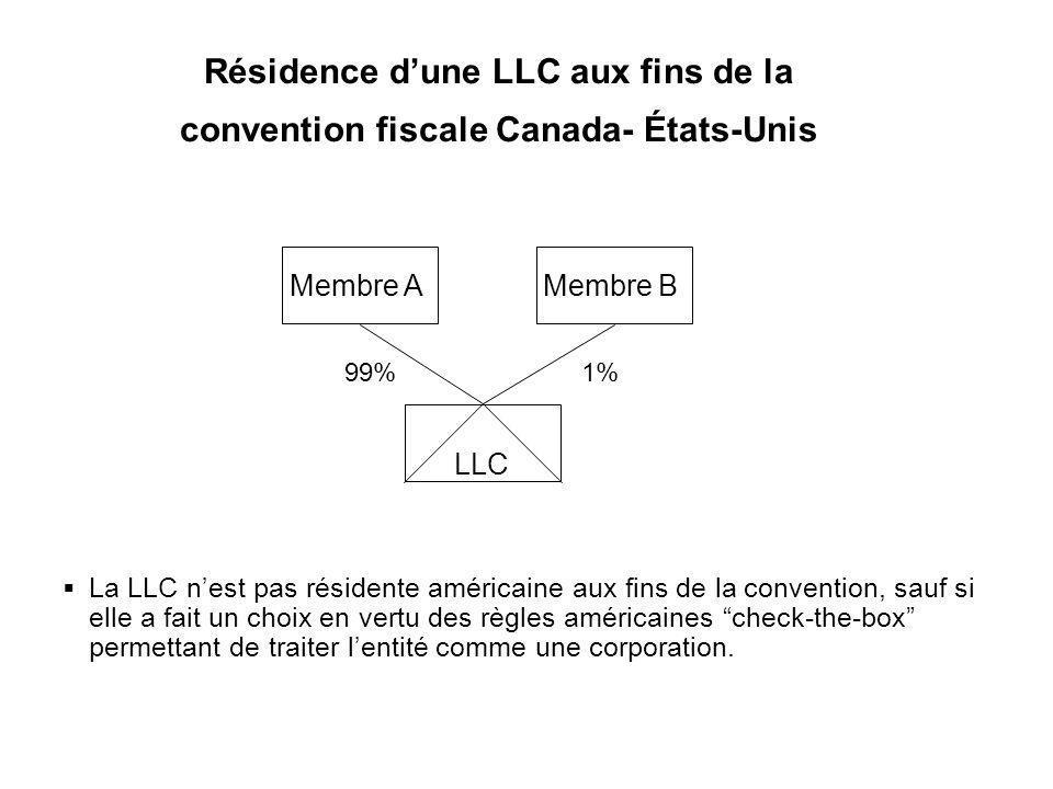 26 Résidence dune LLC aux fins de la convention fiscale Canada- États-Unis La LLC nest pas résidente américaine aux fins de la convention, sauf si ell