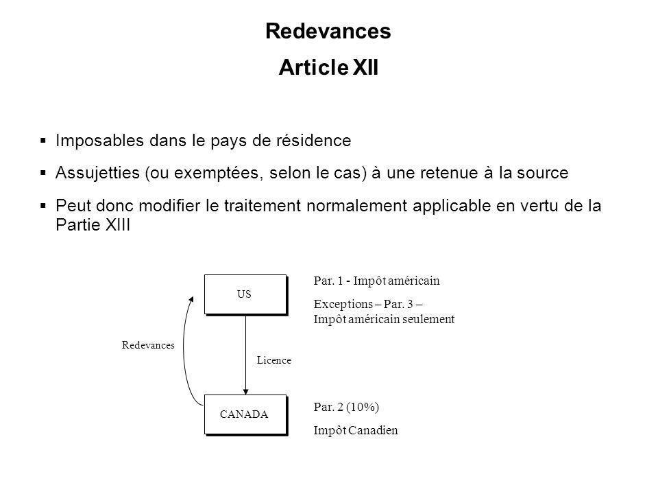 34 Redevances Article XII Imposables dans le pays de résidence Assujetties (ou exemptées, selon le cas) à une retenue à la source Peut donc modifier l