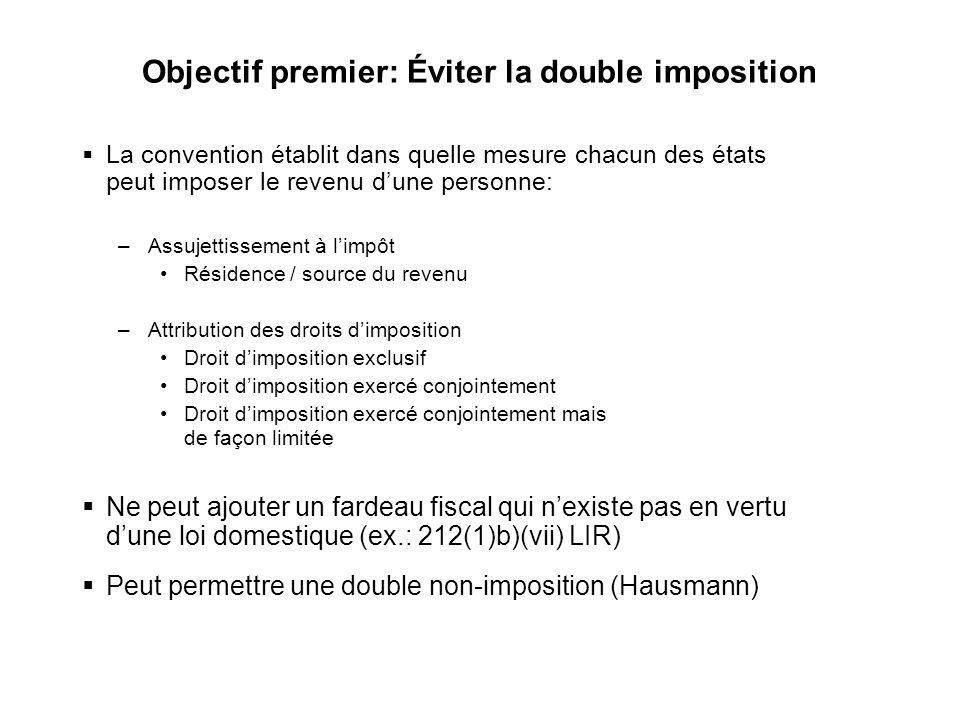 4 Objectif premier: Éviter la double imposition La convention établit dans quelle mesure chacun des états peut imposer le revenu dune personne: –Assuj