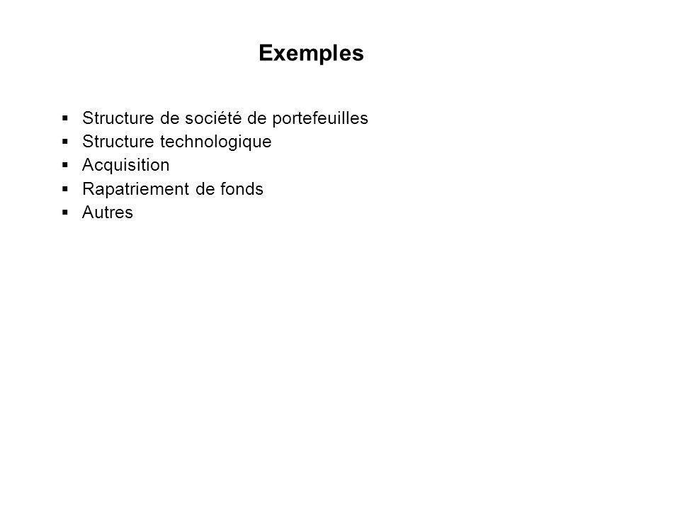 43 Exemples Structure de société de portefeuilles Structure technologique Acquisition Rapatriement de fonds Autres Structure de société de portefeuill