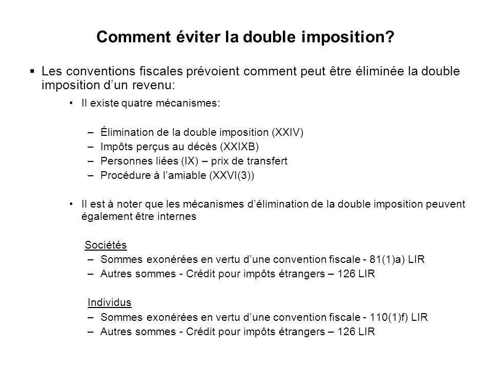 6 Comment éviter la double imposition? Les conventions fiscales prévoient comment peut être éliminée la double imposition dun revenu: Il existe quatre