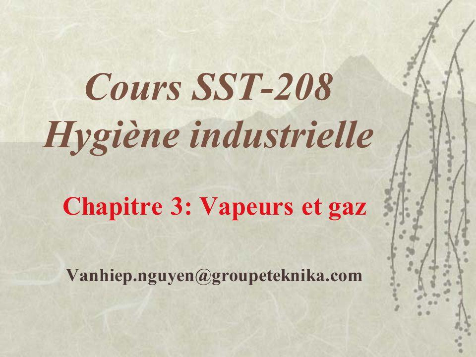 Cours SST-208 Hygiène industrielle Chapitre 3: Vapeurs et gaz Vanhiep.nguyen@groupeteknika.com