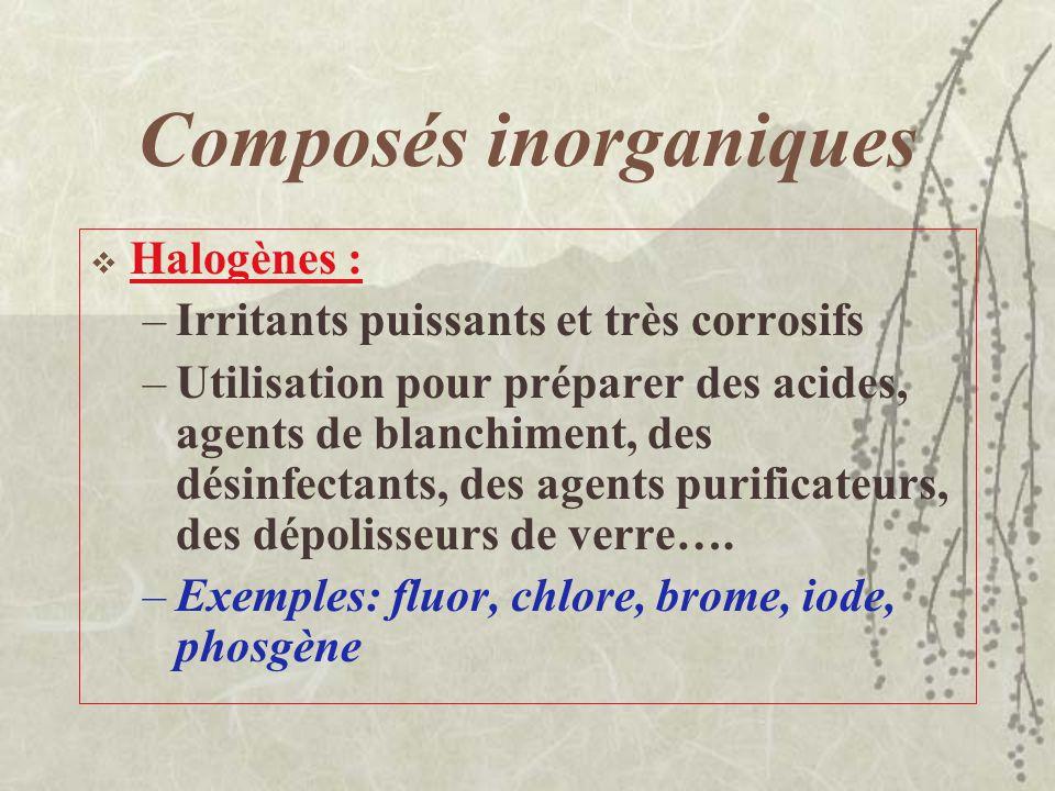 Composés inorganiques Gaz inertes, très peu réactifs et peu toxiques Asphyxiants simples Utilisation dans des procédés de soudage Exemples de gaz iner