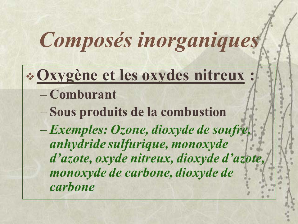 Composés inorganiques Halogènes : –Irritants puissants et très corrosifs –Utilisation pour préparer des acides, agents de blanchiment, des désinfectan