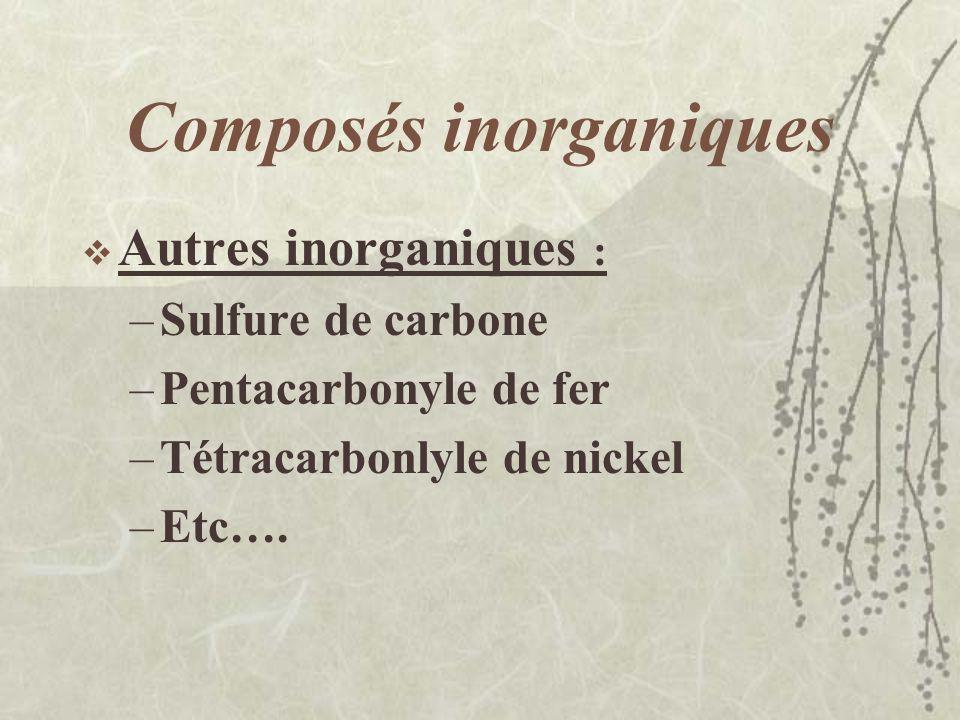 Composés inorganiques Hydrogène et ses composés : –Très inflammables –Dérivés très toxiques et peu utilisés dans lindustrie –Exemples : arsine, phosph