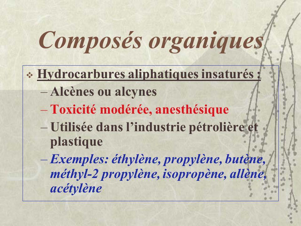 Composés organiques Hydrocarbures aliphatiques saturés ou alcanes –C n H 2n+2 –Inflammables, anesthésiques et légèrement irritants –Exemples : éthane,